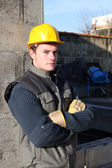Construction worker on site — Stockfoto