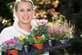 Young with plants — Stock Photo