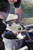 Man with cement and trowel — Stock Photo