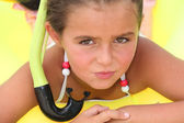 Little girl with snorkel — Stock Photo