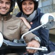 Stock Photo: Couple on motorcycle