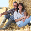 Couple sitting in front of haystack — Stock Photo