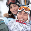 Stock Photo: Couple in ski holidays