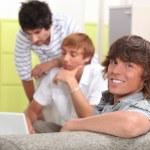 Three boys in the classroom — Stock Photo