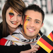 Couple supporting the German football team — Stock Photo
