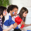 French supporter watching TV - Stock Photo