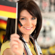 Attractive German soccer supporter — Stock Photo