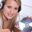 Teens with CD — Stock Photo #9315024