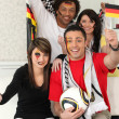 Two couples supporting German football — Stock Photo