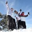 Group in ski holidays — Stock Photo