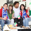 Italian football fans at home — Stock Photo