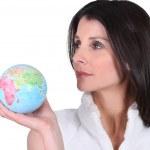 Woman holding a globe — Stock Photo #9316312