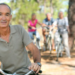 Man riding his bicycle — Stock Photo