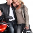 Stock Photo: Biker couple.