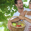 Pair with fruit basket — Stock Photo #9317668