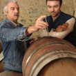 Photo: Two men checking quality of wine