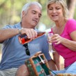 Senior couple having picnic — Stock Photo