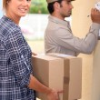 Stock Photo: Delivery package collecting