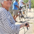 Senior on bikes — Stock Photo