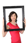 Woman framing herself — Stock Photo