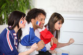 French supporter watching TV — Stock Photo