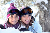 Friends in the snow — Stock Photo