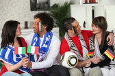 Italian and German soccer fans — Stock Photo