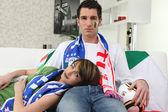 Skleslý italské fotbalové fanoušky — Stock fotografie
