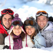 Two couples in a ski slope — Stock Photo