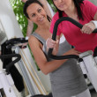 Brunette woman in the gym — Stock Photo #9320581
