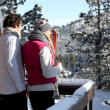 Stock Photo: Couple arriving at their winter chalet