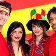 Stock Photo: Group of soccer fans backing Spanish team