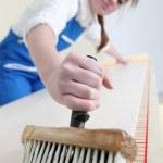 Craftswoman painting — Stock Photo