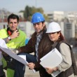 Construction team on site — Stock Photo
