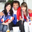 Three French supporters — Stock Photo
