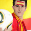 Passionate Spanish soccer fan — Stock Photo