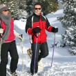 Stock Photo: Couple snowshoeing