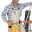 Carpenter wearing toolbelt — Foto de stock #9327424