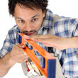 Man holding spirit-level - Stock Photo