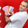 Stock Photo: Painter with color samples