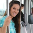 Teen on tram — Stock Photo #9327994