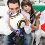 Italian football fans at home — Stock Photo