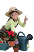 Young girl gardening — Stock Photo
