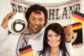 šťastný německých fotbalových fanoušků — Stock fotografie