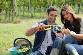 Winegrowers tasting wine — Stock Photo