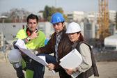 Squadra di costruzione sul sito — Foto Stock