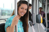 Teen on the tram — Stock Photo