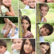 Montage of children playing in the park — Stock Photo