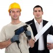Architect and builder with drill — Stock Photo #9578520