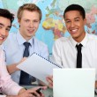 Three university geography students — Stock Photo